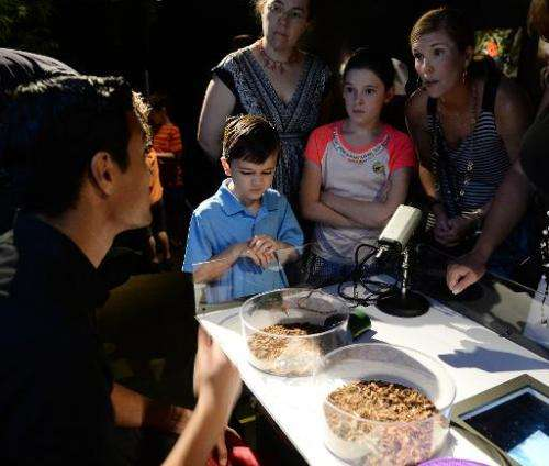 """Viewers asks questions during a media preview for """"Spiders Alive"""" July 1, 2014 at the American Museum of Natural Histo"""