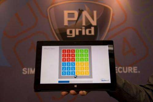 View of a PINgrid interface developed by Britain's Winfrasoft at the 2014 CeBIT computer technology trade fair on March 11 in Ha