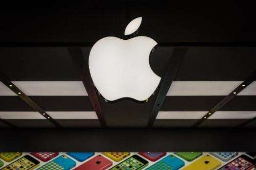 View of the famous logo at new Apple store in Rio de Janeiro, Brazil, on Februrary 16, 2014