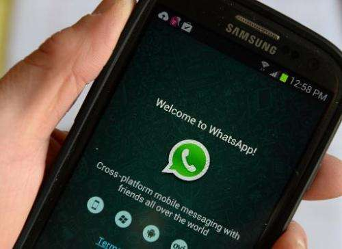 WhatsApp, the popular messaging service bought by Facebook for USD $19 billion, seen on a smartphone on February 20, 2014 in New