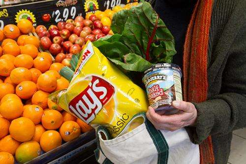 When food shoppers bring their own sacks, purchases are both more and less healthy