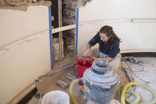 Workers Discover Fire Debris in Rotunda Wall Cavity