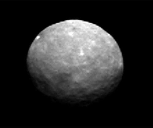 Closer view of Ceres shows multiple white spots