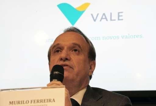 The president of the mining company Vale do Rio Doce, Murilo Ferreira, speaks during a press conference in Rio de Janeiro, Brazi