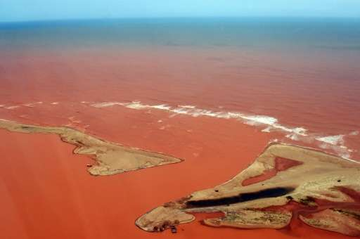 Handout picture released by the Espirito Santo State Press Office shows an aerial view of the Doce River—flooded with toxic lava