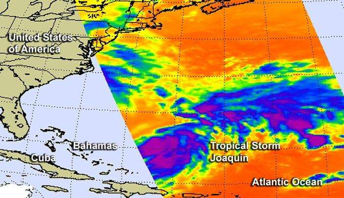 NASA sees wind shear affecting Tropical Storm Joaquin