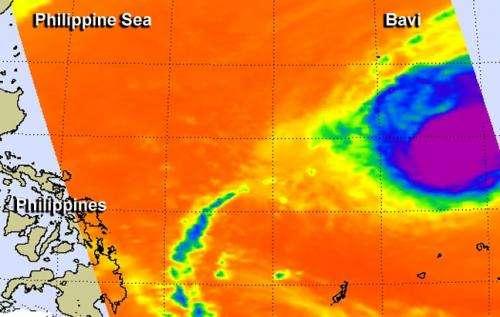 Tropical Cyclone Bavi moving through Philippine Sea