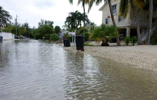Adams Drive in Key Largo, Florida has been flooded for nearly a month, after high tides were exacerbated by a super moon