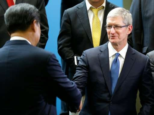 Apple Inc, whose CEO Tim Cook is pictured with Chinese President Xi Jinping on September 23, 2015, has leveled said a proposed B