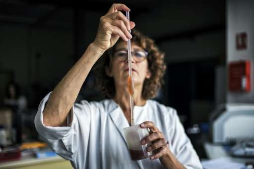 A scientist analyses grape samples in Liergues as part of a program aimed at producing the fruit under appropriate conditions