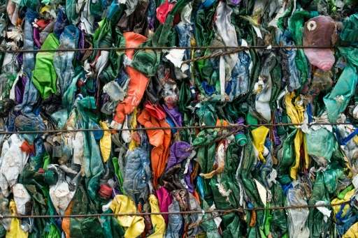 Compressed plastic waste collected by fishermen at a processing plant in Chiva, near Valencia in Spain