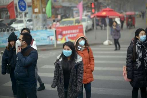 Counts of PM2.5, harmful microscopic particles that penetrate deep into the lungs, in Beijing peaked at 620 micrograms per cubic