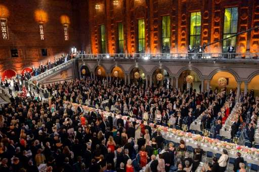 Guests attend the 2015 Nobel peace prize award banquet in Stockholm City Hall on December 10, 2015
