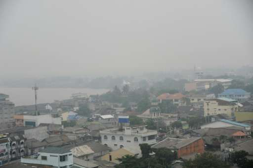 Haze covers the southern Thai city of Narathiwat on October 23, 2015