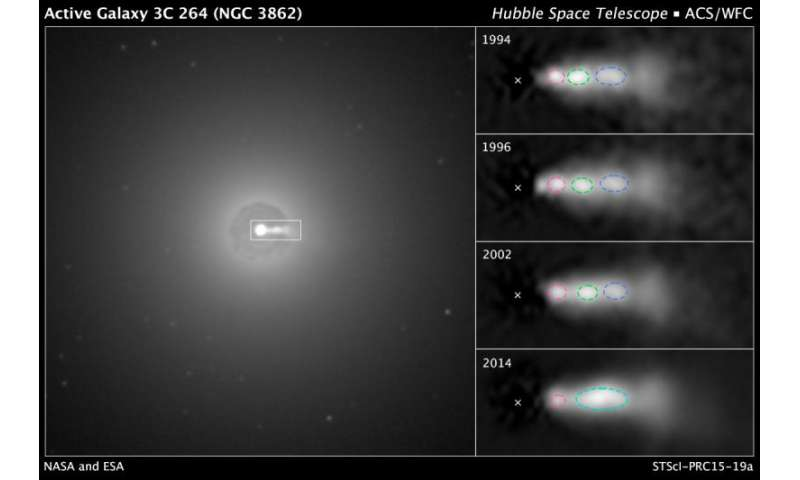 Hubble sees shock collision inside black hole jet