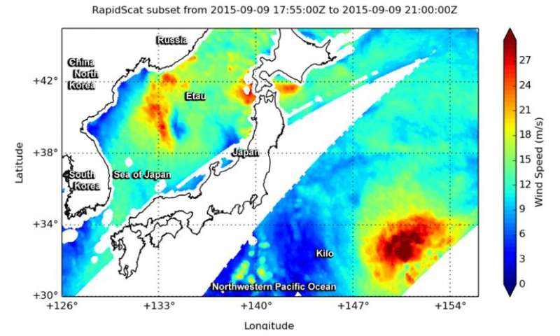 NASA looks at Japan's torrential rains and winds from twin tropical cyclones