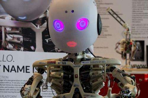 Roboy, a humanoid robot developed at the University of Zurich,at the 2014 CeBIT technology trade fair on March 9, 2014 in Hanove