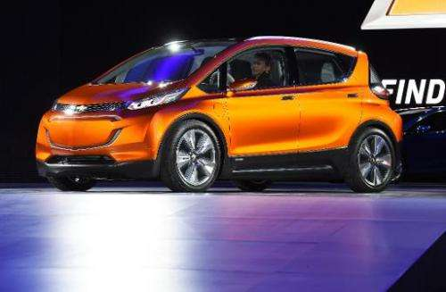This January 2015 file photo shows the Chevrolet electric concept car Bolt EV at the North American International Auto Show in D