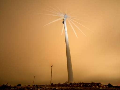 Turbines at Maranchon Wind Farm in Spain's Guadalajara province