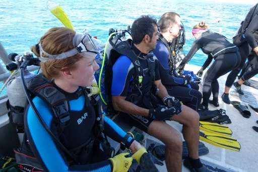 Volunteers prepare to make a dive to plant coral as part of the University of Miami Rosentiel School's Rescue a Reef program, in