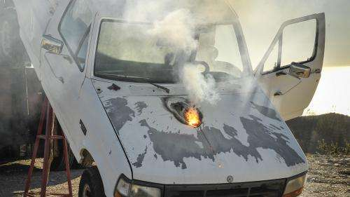 Weapon system stops truck in field test