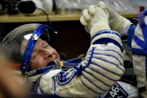 Britain's astronaut Tim Peake, pictured on December 15, 2015, will make his first spacewalk under cover of darkness