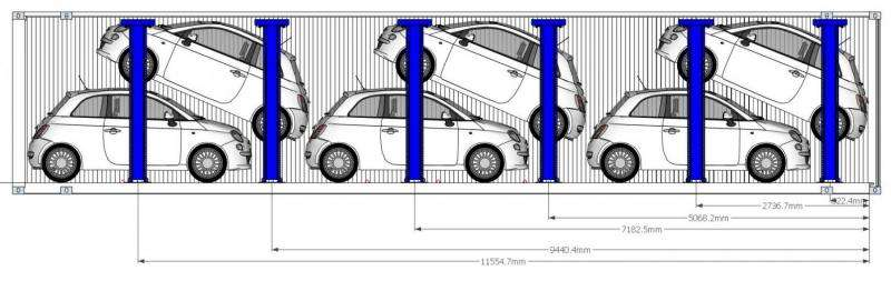 Clever car racking & intelligent software double number of cars in shipping containers