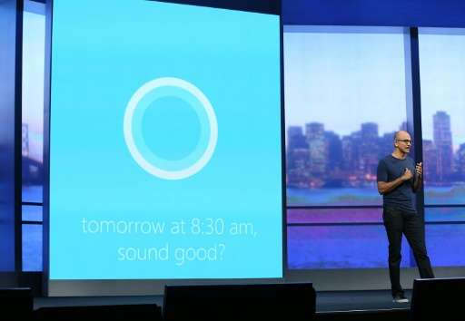 Microsoft CEO Satya Nadella demonstrates the digital personal assistant function Cortana on April 2, 2014 in San Francisco, Cali
