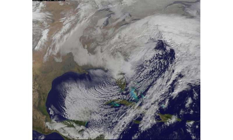 NASA sees winter storm slamming eastern United States