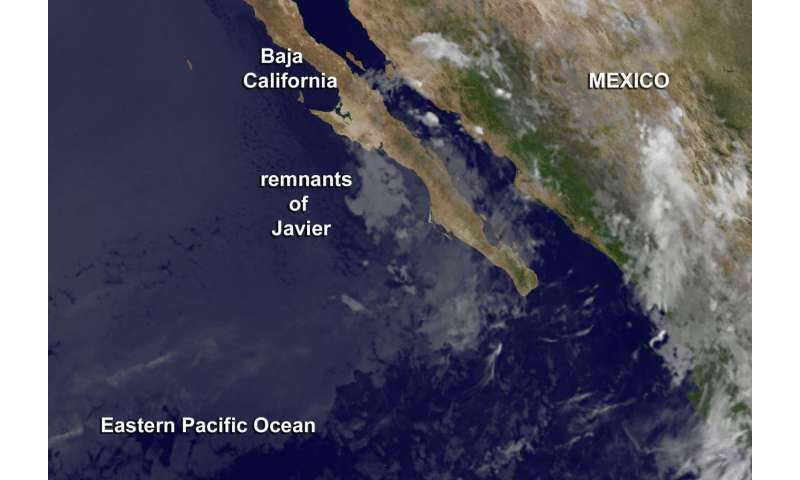 Satellite sees remnants of Tropical Depression Javier