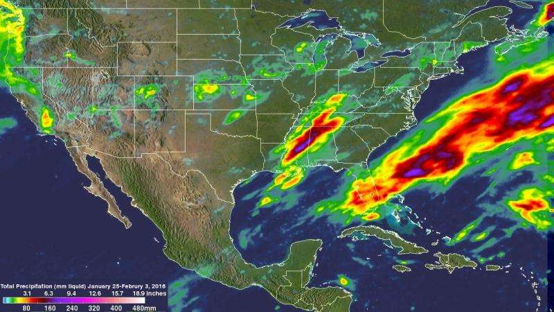 NASA measures 10 days of US extreme precipitation from space