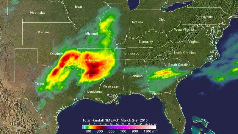 NASA's GPM satellite measured heavy rainfall in the southern US storms