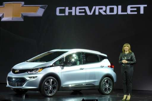 General Motor's (GM) Chairman and CEO Mary Barra unveils the new Chevrolet Bolt at the CES 2016 Consumer Electronics Show in Las