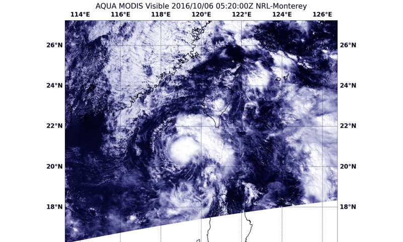 NASA sees Tropical Depression Aere moving through South China Sea