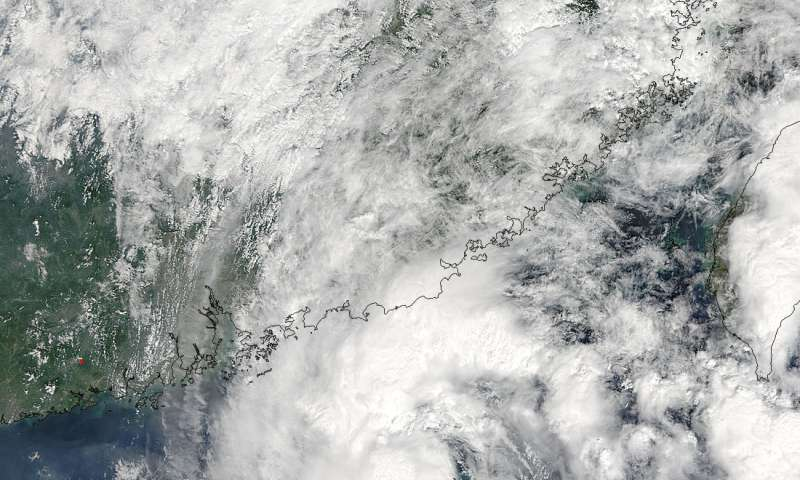 NASA sees Tropical Storm Aere drifting in the South China Sea