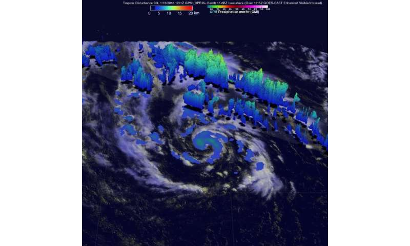 NASA analyzes winds and rainfall in unusual Atlantic system 90L