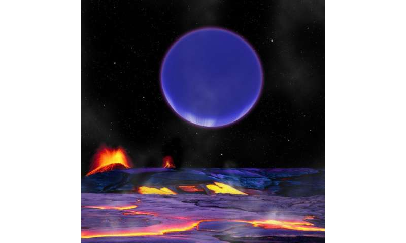 An artist's conception shows Kepler-36c as it might look from the surface of neighboring Kepler-36b. Credits: Harvard-Smithsonian Center for Astrophysics/David Aguilar.   Read more at: http://phys.org/news/2016-02-physical-conditions-exoplanets-kepler-.html#jCp