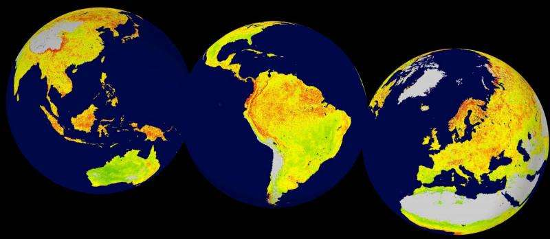 Long term satellite data offers insights into degree of global sensitivity to climate change
