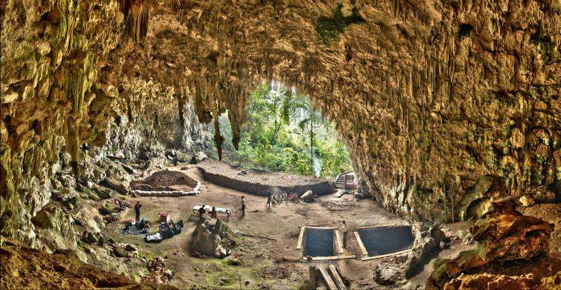 Liang Bua, a limestone cave on the Indonesian island of Flores. The Liang Bua Team prepares for new archaeological excavations. Credit: Smithsonian Digitization Program Office / Liang Bua Team