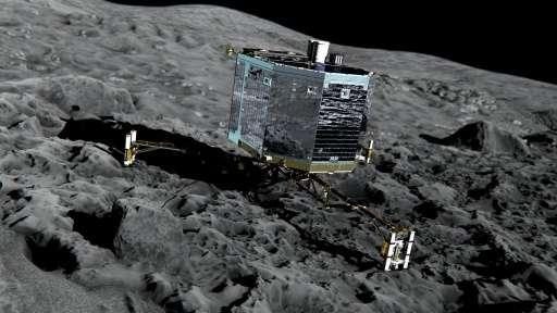 An artist's impression of Rosetta's lander Philae on the surface of comet 67P/Churyumov-Gerasimenko