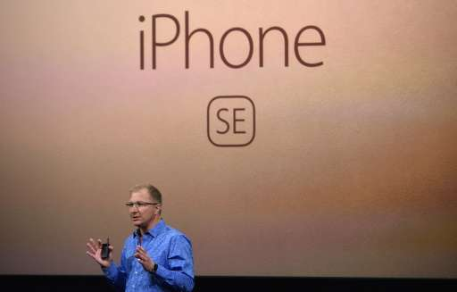 Apple Vice President Gregory Joswiak introduces the new iPhone SE during a media event at Apple headquarters in Cupertino, Calif