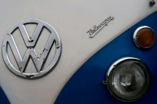Detail on a Volkswagen Kombi minivan pictured during an exhibition at the Volkswagen plant in Sao Bernardo do Campo, southern Sa