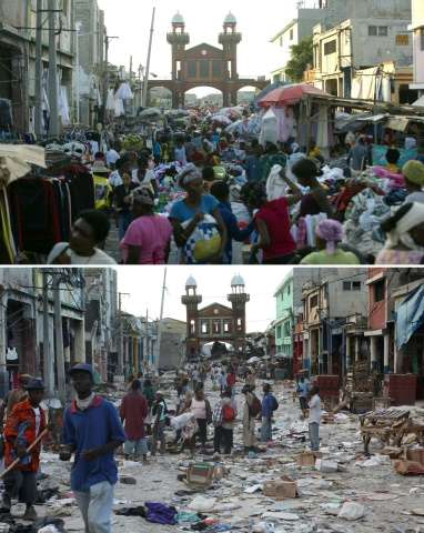 Downtown Port-au-Prince pictured on December 29, 2014 (top) and on January 14, 2010 (bottom), two days after it was hit by the e