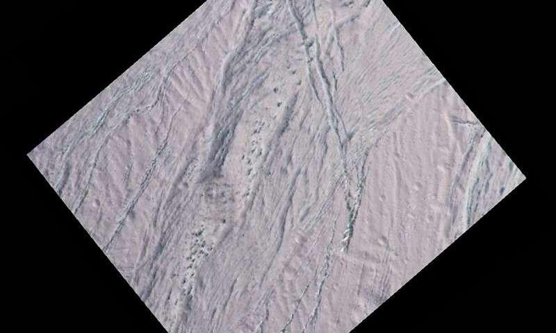 Enceladus dalmatian terrain close-up