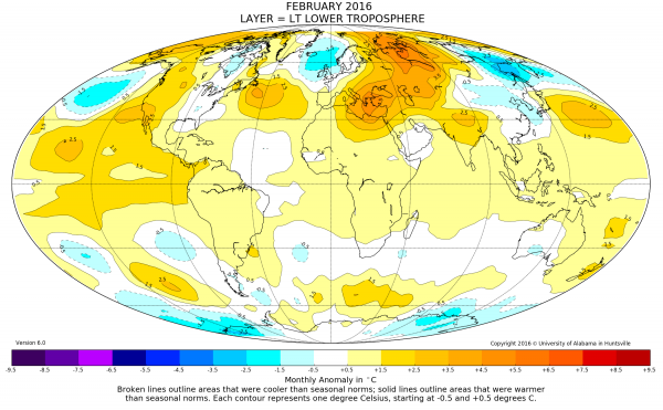 February was warmest month in satellite record