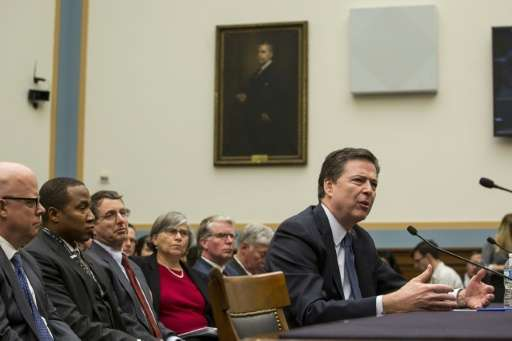 """Federal Bureau of Investigation Director James Comey testifies during a House Judiciary Committee hearing titled """"The Encry"""