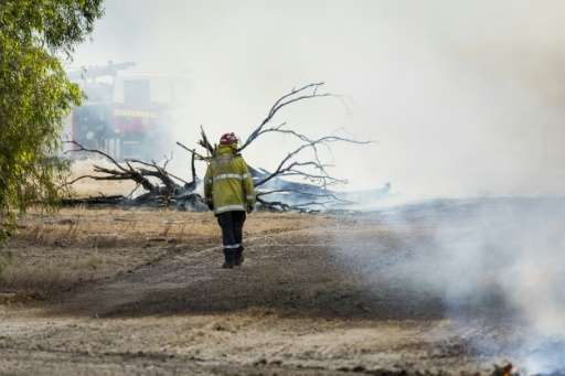 Fireman inspect the damage near Waroona, 70 miles south of Perth, after a huge bushfire which has razed about 71,000 hectares in