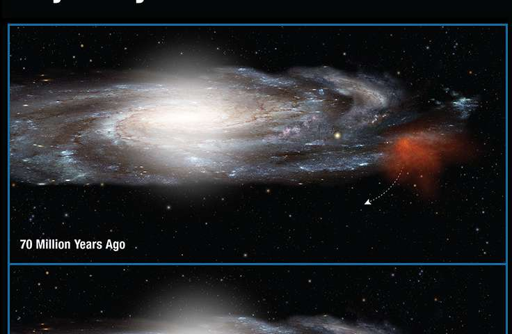 Giant gas cloud boomeranging back into Milky Way