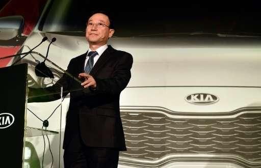 Hyundai Motor Group's Executive Vice President, Seung Ho Hwang, speaks during a Kia press event for CES 2016, at the Mandalay Ba