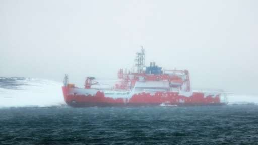 Icebreaker Aurora Australis, seen after it ran aground at Australia's Mawson research station in Antarctica, on February 26, 201